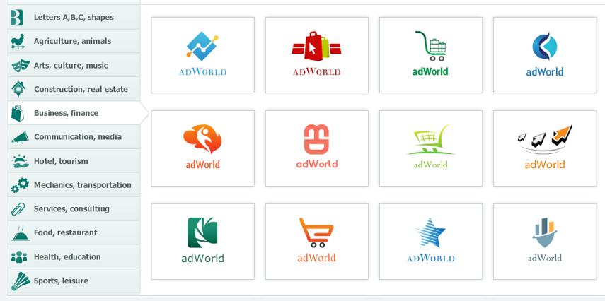 תמונת מסך של אתר ליצירת לוגו