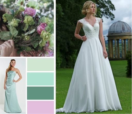 Seamist Sage Pale Pink Pine Bridal Colour Palette With A Satin Bridesmaid Gown