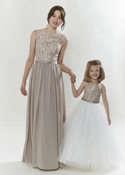 Gold Mocha Matching Flower Bridesmaid Dresses