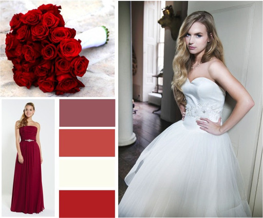 Bordeaux Burgundy Ivory Red Bridal Colour Palette With A Chiffon Bridesmaid Gown
