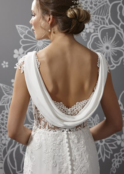 Cowl back wedding dress Fitted crepe and lace bridal gown