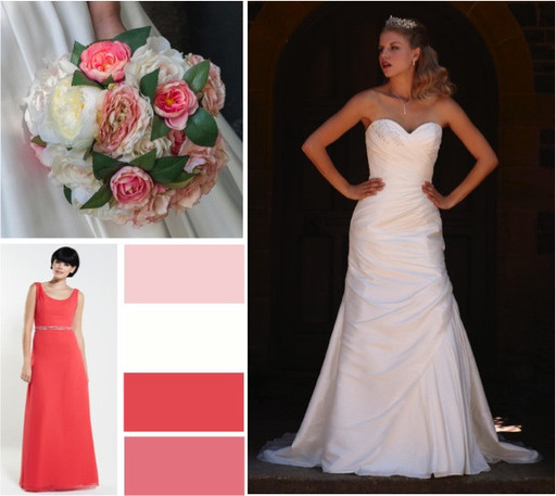 Watermelon, lipstick & ivory wedding colours -  alisonjanebridal.co.uk Mirfield