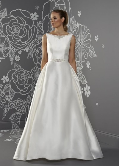 Mikado bridal gown with high neck
