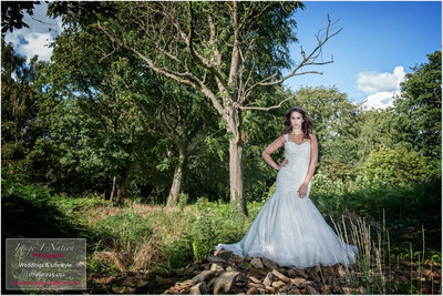 Model wears fishtail wedding dress for bridal shoot in Mirfield, Image I Nation. Alison Jane Bridal - Mirfield