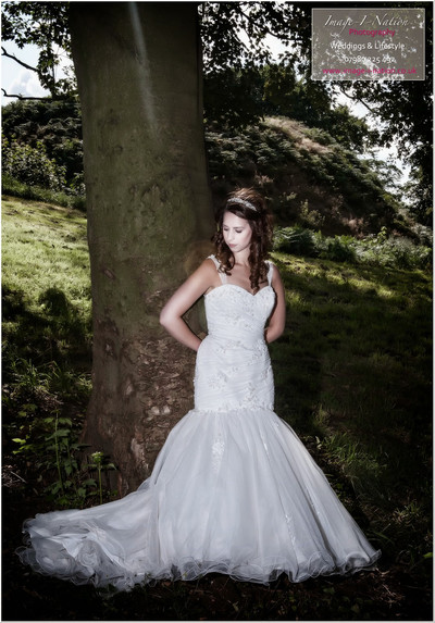 Model wears Alexia designs fishtail wedding dress for bridal shoot in Mirfield, Image I Nation. Alison Jane Bridal - Mirfield
