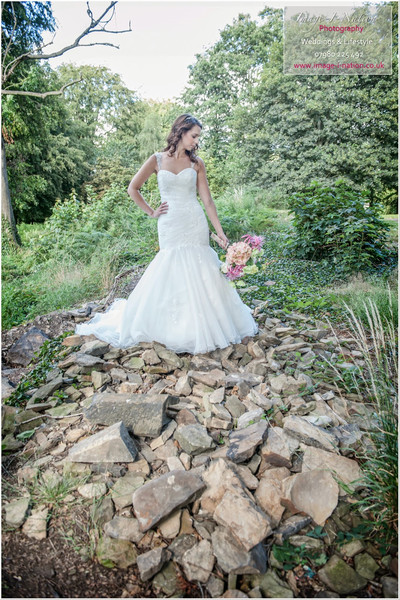 Summer bridal photo shoot, Fishtail wedding dress. Alison Jane Bridal Mirfield.