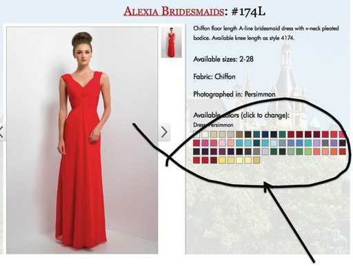 An example of colour options for bridesmaid dresses.