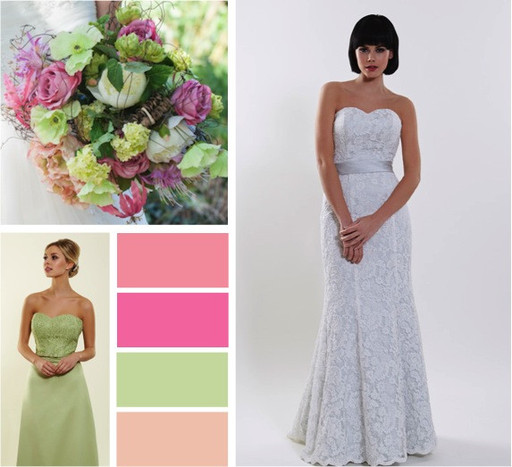 Coral, candy pink  & Pistachio wedding colours -  alisonjanebridal.co.uk Mirfield