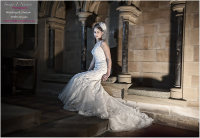 Model wears wedding dress named Nice from Alison Jane Bridal.