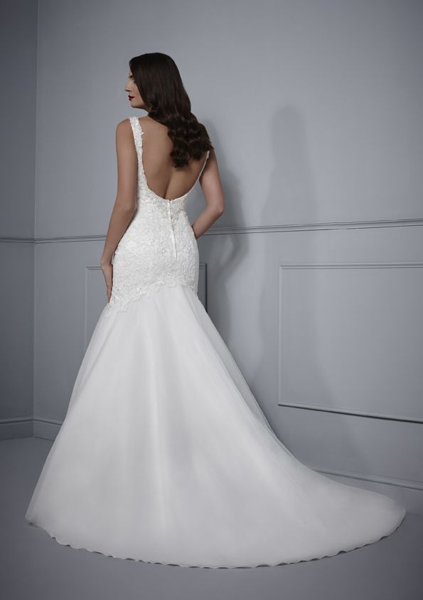 Beaded straps & low back. Fitted wedding dress Tulle & lace