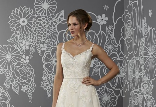 Button and lace back wedding dress