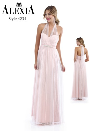 pastel pink full length bridesmaid dress