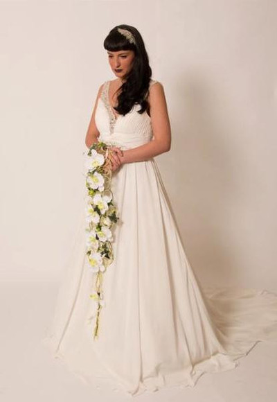 Model wears wedding dress W379 from Alison Jane Bridal Mirfield.