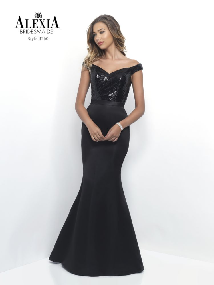 black sequin fitted prom dress
