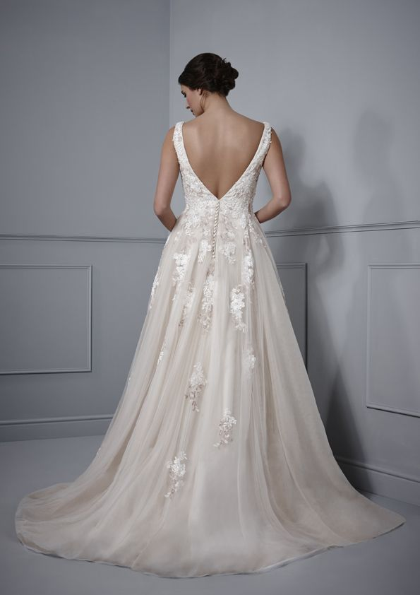Low V back tulle and lace bridal gown