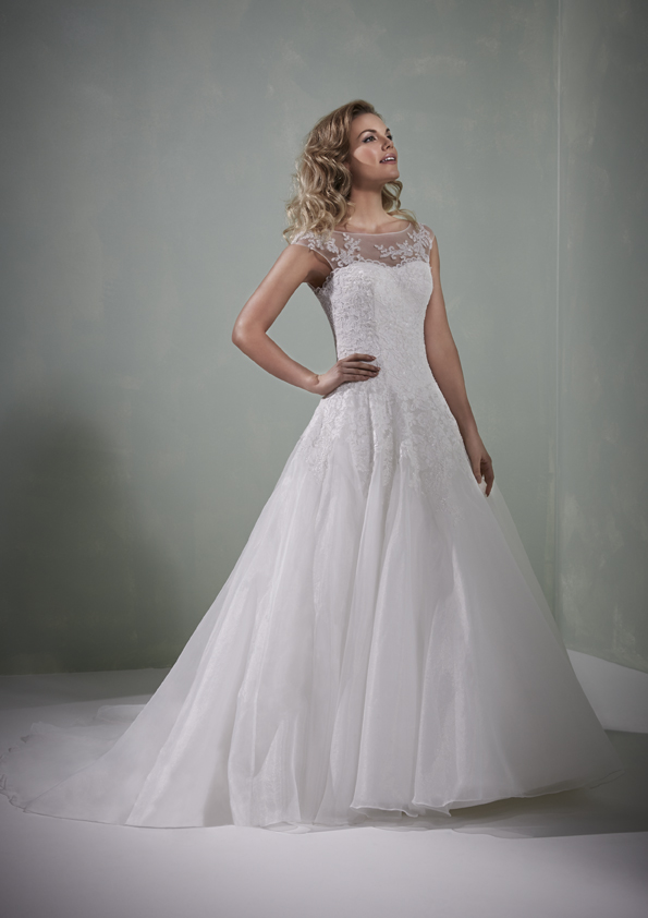High illusion neck line with fitted bodice and full skirt