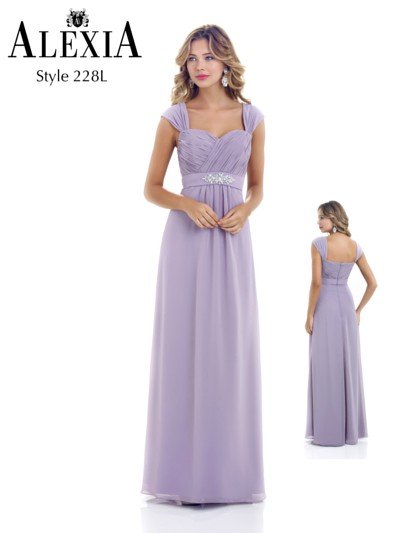 Chiffon bridesmaid dress with sparkle belt