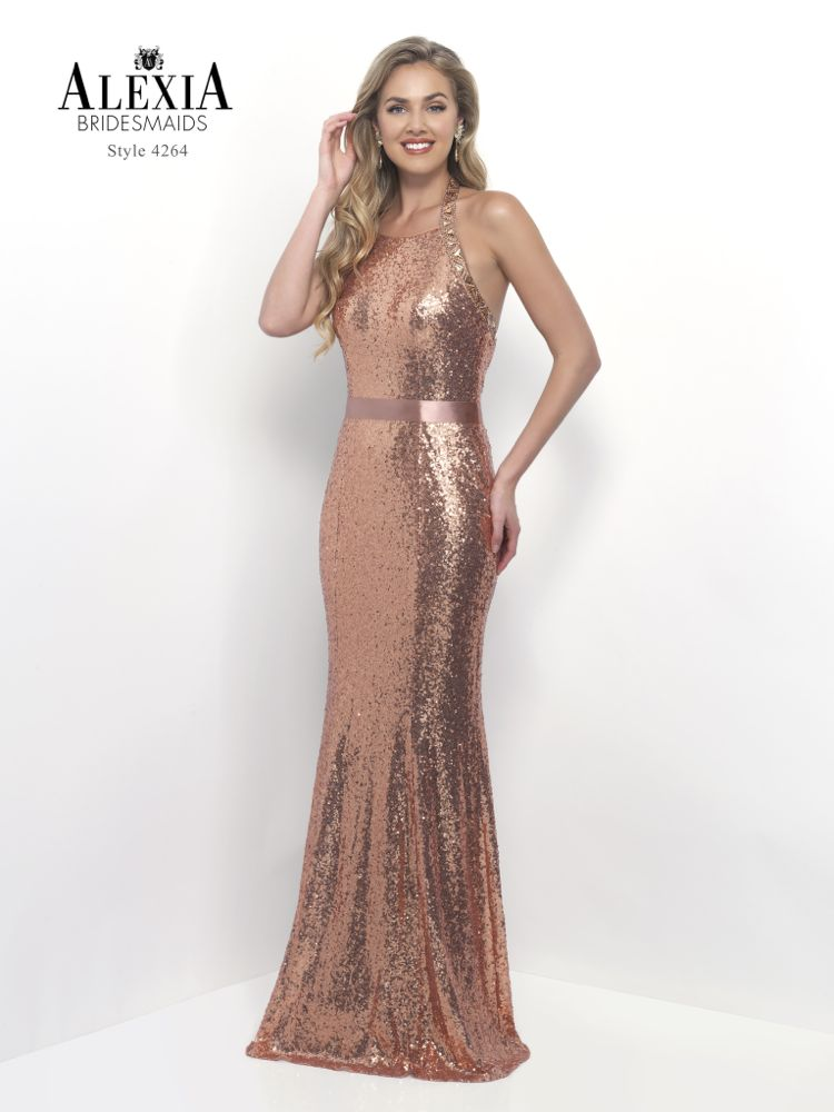 Rose gold sequin prom dress