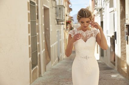Katrina bridal gown Crepe/lace  Romanatica of Devon