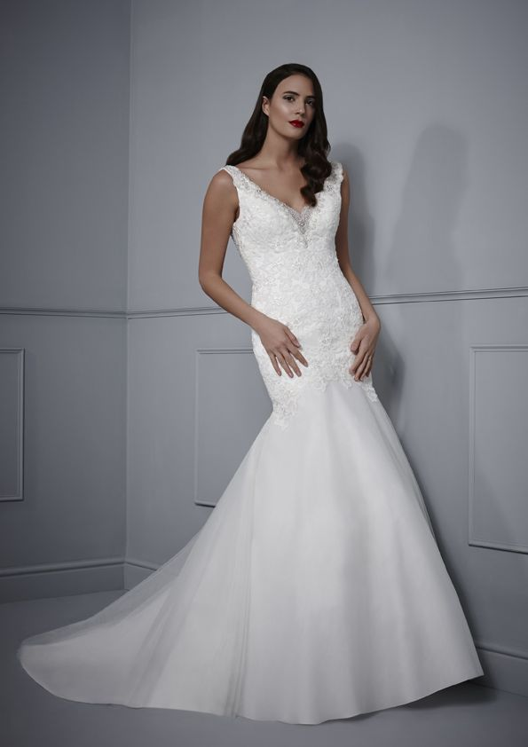 Soft tulle fitted gown with beaded lace neckline