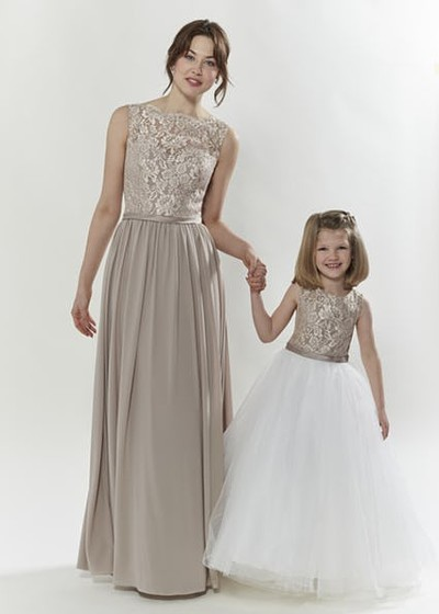 Gold/Mocha matching flower girl & adult bridesmaid dresses