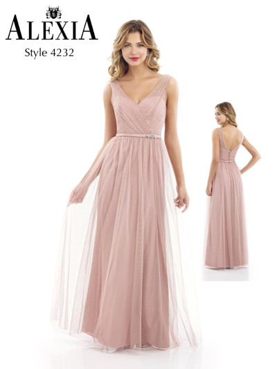 Nude Full length bridesmaid dress