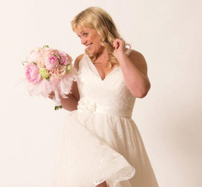 Model wears W392 bridal gown from Alison Jane Bridal - Mirfield
