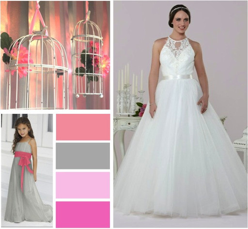 Pinks & grey wedding colours -  alisonjanebridal.co.uk Mirfield