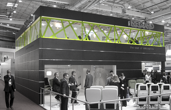 Design of the Recaro Aircraft Seating Booth at the Aircraft Interios Expo in Hamburg