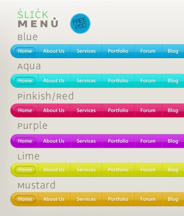 Color Beans PSD Navigation Menu