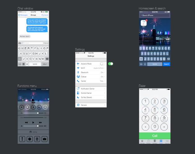 The Full Lick iOS 7 GUI PSD