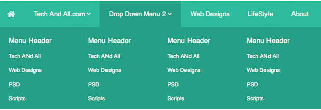 Flat Design Dropdown Menu