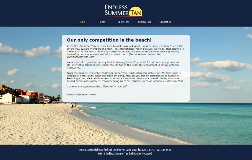 endless summer tan website design