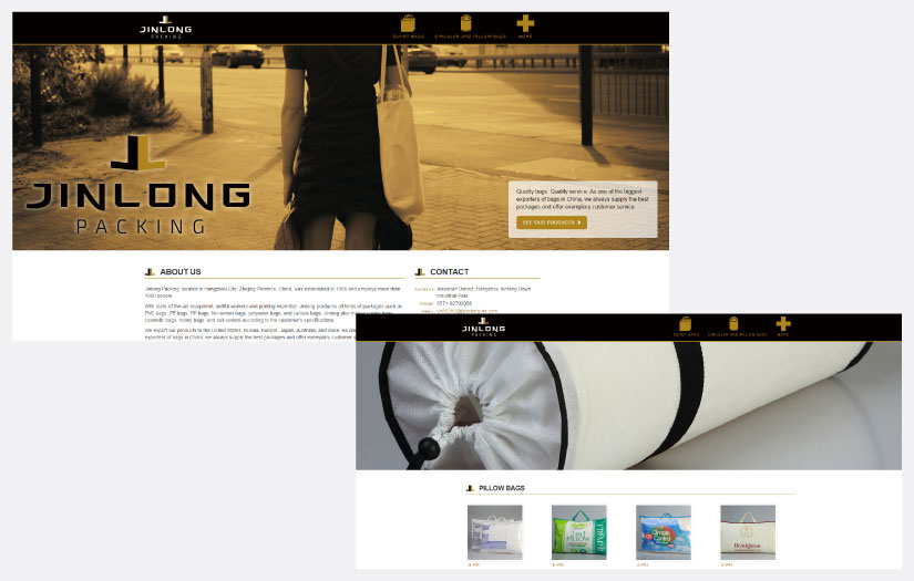 jinlong packing website design