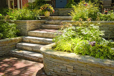 Natural Stone Landscaping In Home Garden With Stairs - Green Future Construction