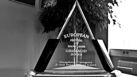In 2002 Laserforum received the 2ND Price in the Graphic Category at the European Festival of Showlaser in Port Grimaud, France