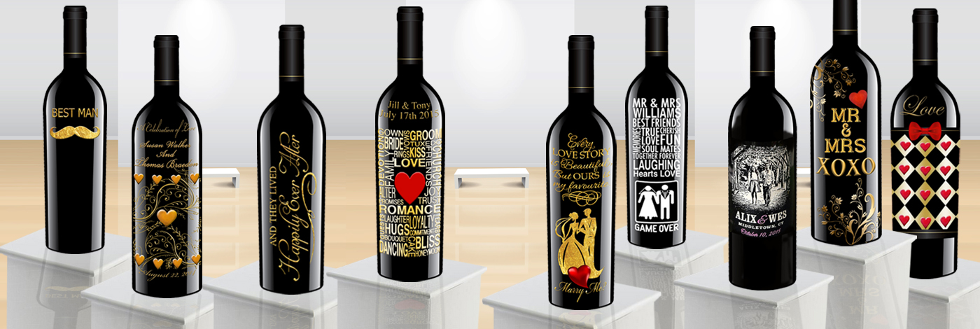 Bridal party wine gifts for Unique wine bottle designs