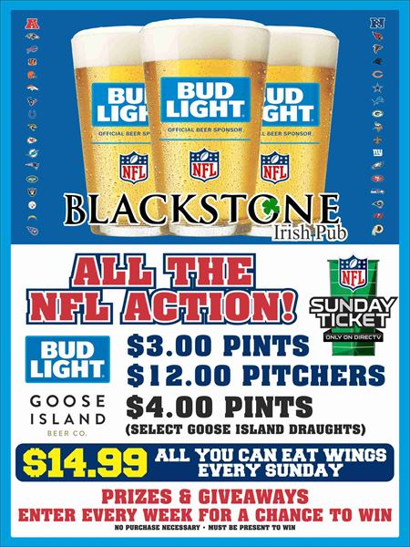 NFL action at the Blackstone Irish Pub