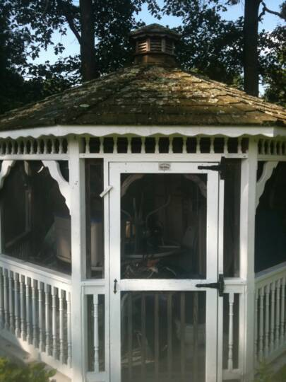 The roof of this gazebo needed help