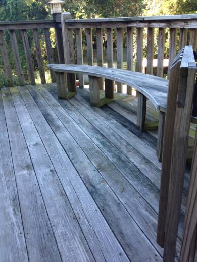 The floor, railing and bench of this deck looked dull and dirty before Pals showed up