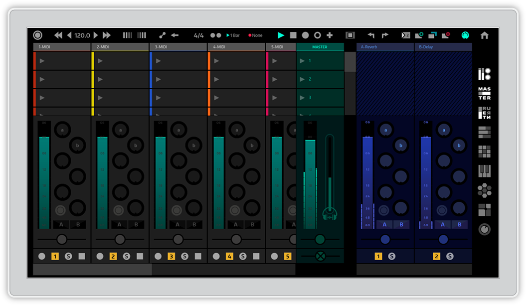 Yeco's mixer view with master and returns tracks open