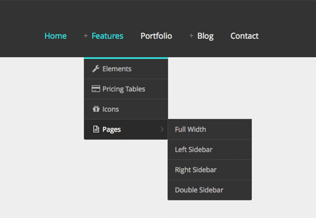 Responsive Dropdown Menu With Icon Symbol