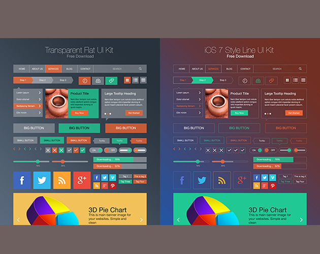 Flat and Line Style UI Kits