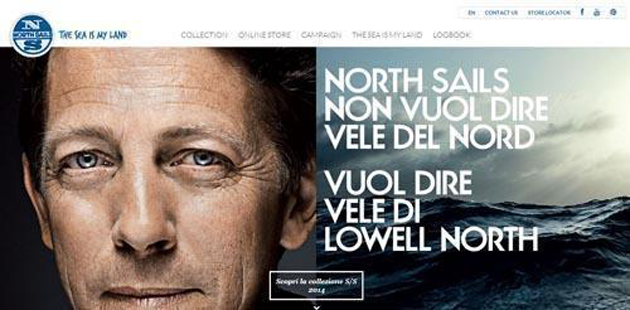 The North Sails sportswear site uses images that appeal to its audience's emotions.