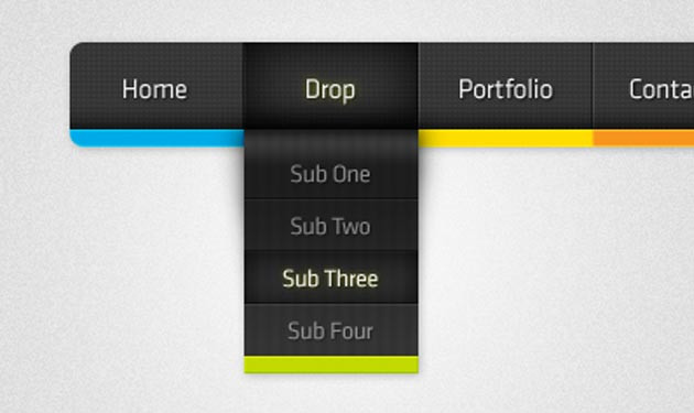 Colour Dropdown PSD Menu