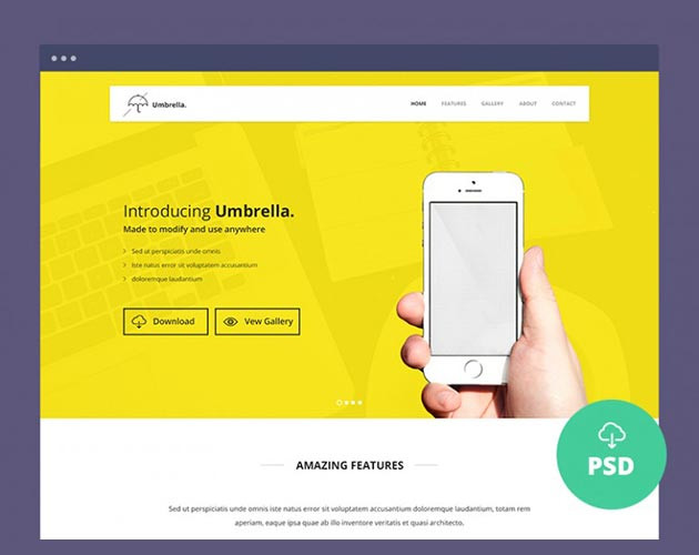 Showcase Yellow Landing Page