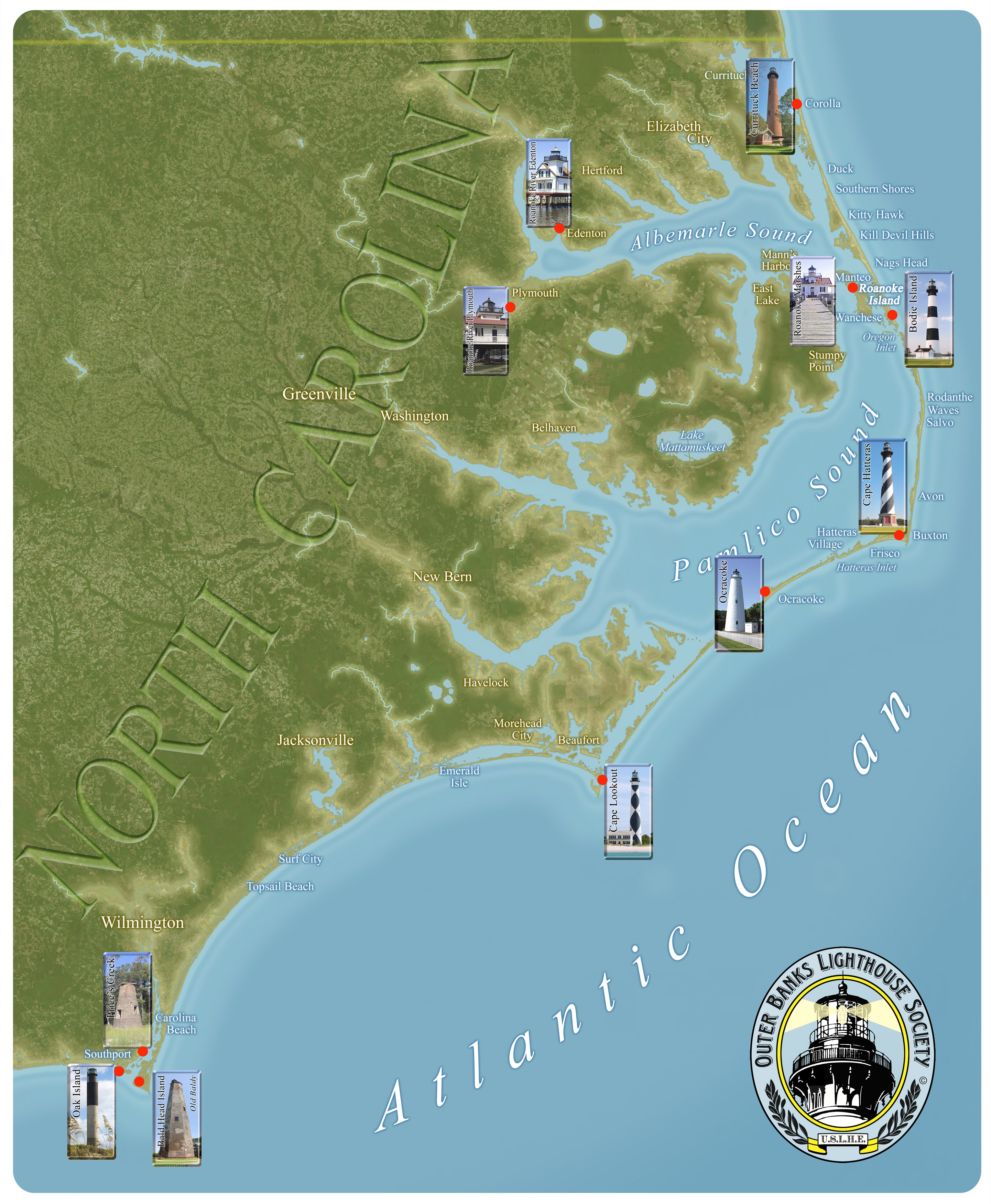 LIGHTHOUSE MAP - The map of north carolina