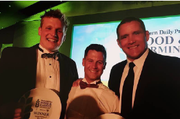 Jack Griffin, Tom Appleby with Phil Vickery who hosted the awards