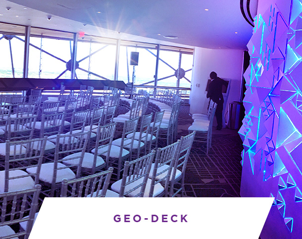 GEO-Deck, a unique indoor/outdoor private event space at Reunion Tower, Dallas