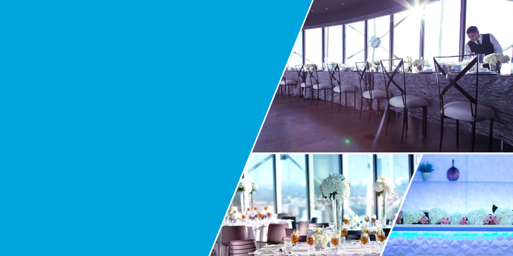 Corporate dinners, cocktail parties and wedding receptions at Reunion Tower, Dallas